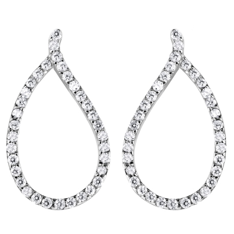 STERLING SILVER EARRINGS - MURAT STERLING SILVER POST DROP CUBIC ZIRCON TEARDROP SHAPE
