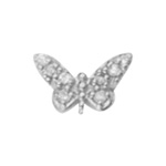 STERLING SILVER EARRINGS - STERLING SILVER CUBIC ZIRCON BUTTERFLY SINGLE STUD EARRING