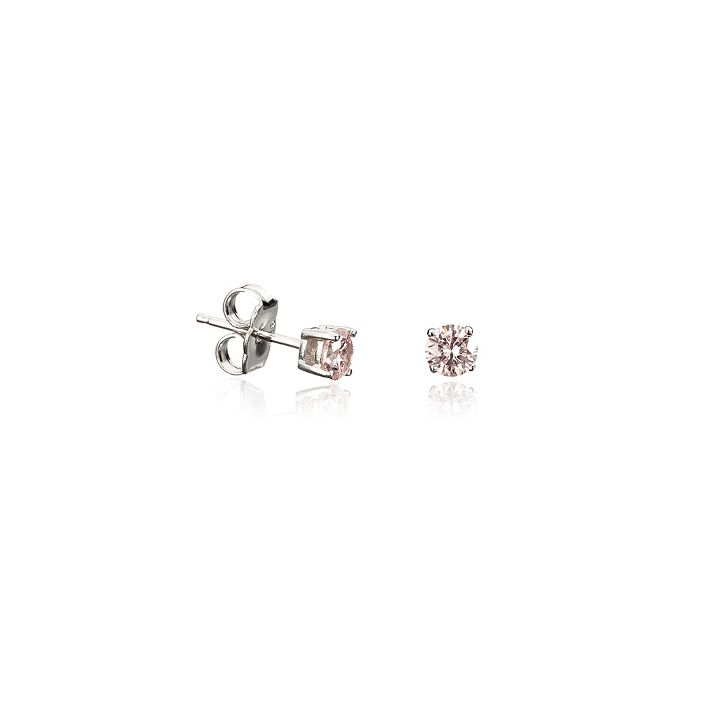 STERLING SILVER EARRINGS - STERLING SILVER  PLATINUM ROUND PINK CUBIC ZIRCON STUD EARRINGS .50 CARAT TOTAL WIEGHT BY CRISLU
