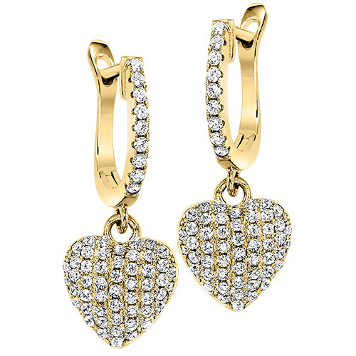 STERLING SILVER EARRINGS - STERLING SILVER GOLD VERMEIL HEART DROP EARRINGS WITH CUBIC ZIRCONS