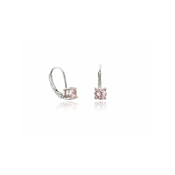 STERLING SILVER EARRINGS - STERLING SILVER LEVERBACK  EARRINGS WITH ROUND PINK CZ' S 1 CARAT BY CRISLU