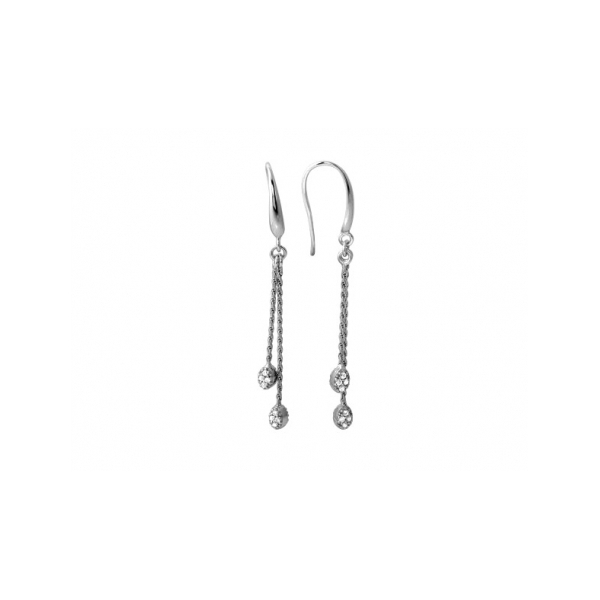 STERLING SILVER EARRINGS - EVA STERLING SILVER OVAL ROPE CHAIN DANGLE EARRINGS