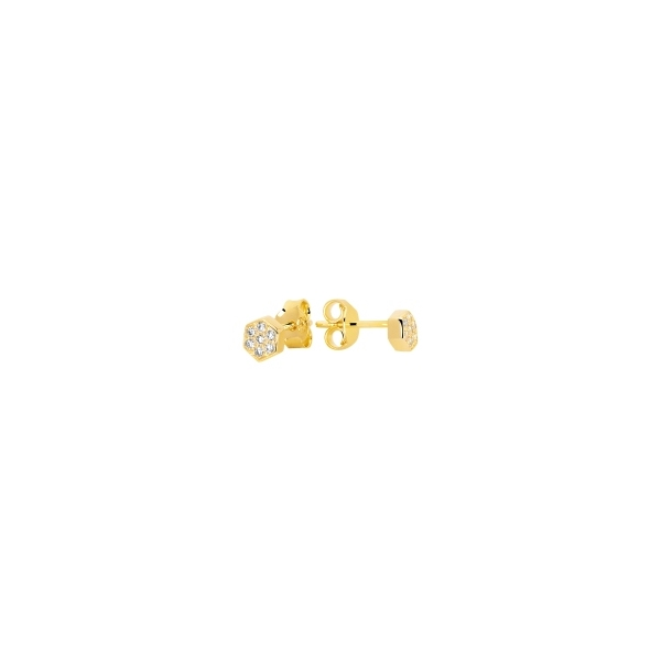 STERLING SILVER EARRINGS - MURAT GOLD PLATED ROUND STUD EARRINGS SET WITH CUBIC ZIRCONS