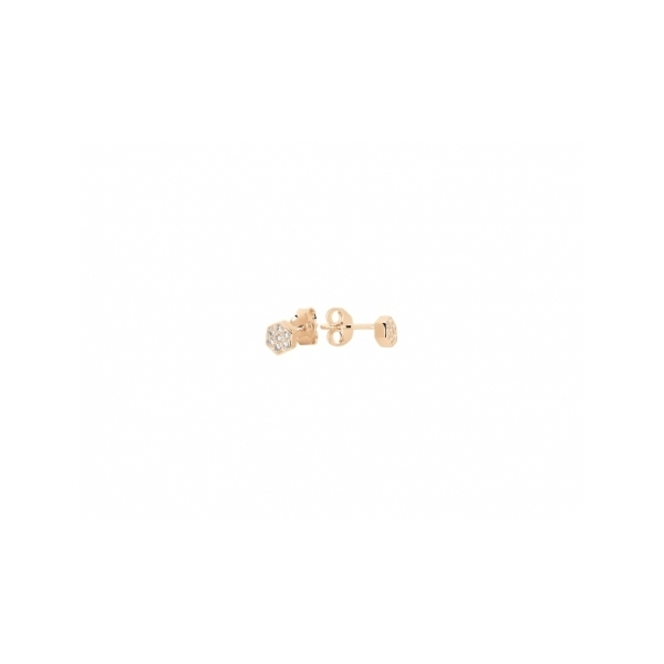 STERLING SILVER EARRINGS - MURAT ROSE GOLD PLATED FLOWER STUD EARRINGS SET WITH CUBIC ZIRCONS