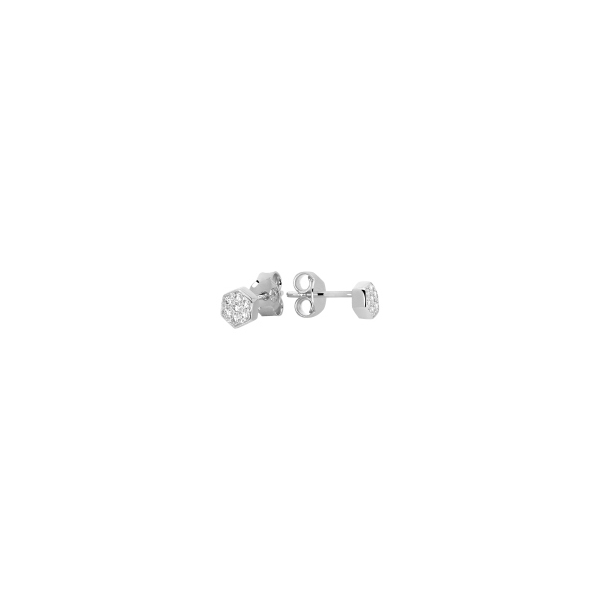STERLING SILVER EARRINGS - MURAT STERLING SILVER  FLOWER STUD EARRINGS SET WITH CUBIC ZIRCONS