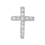 STERLING SILVER EARRINGS - STERLING SILVER CUBIC ZIRCON CROSS STUD SINGLE EARRING