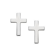 STERLING SILVER EARRINGS - STERLING SILVER  CROSS POST EARRINGS
