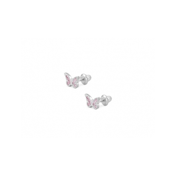 STERLING SILVER EARRINGS - STERLING SILVER PINK CUBIC ZIRCON BUTTERFLY EARRINGS