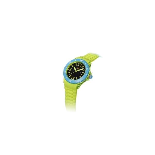 40 NINE WATCHES - 40 NINE SILICONE WATCH, 46 MILLIMETER, TRANSPARENT YELLOW CASE, BLUE TOP RING, BLACK DIAL WITH YELLOW INDEXES, YELLOW SILICONE STRAP WITH BLUE LOOPS