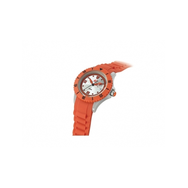 40 NINE WATCHES - 40 NINE SILICONE WATCH, 41 MM, SOLID GREY  CASE, ORANGE TOP RING, SILVER  DIAL WITH ORANGE  INDEXES, ORANGE SILICONE STRAP WITH GREY  LOOPS