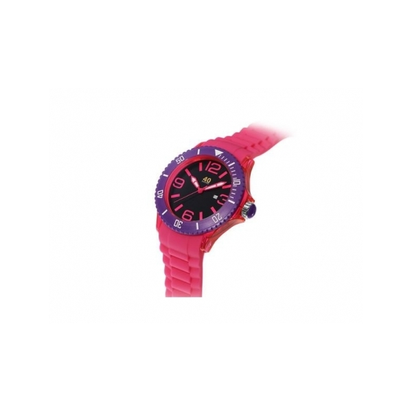 40 NINE WATCHES - 40 NINE WATCH- PINK SILICONE STRAP AND NUMBERS- PURPLE BEZEL- DATE - 46 MM
