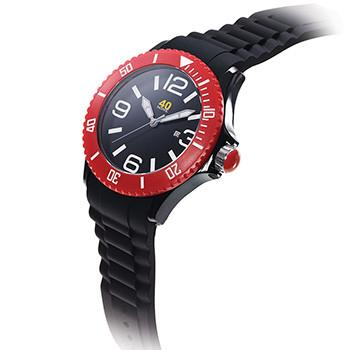 40 NINE WATCHES - 40NINE SILICONE WATCH/50 MILLIMETERS/BLACK CASE WITH RED TOP/BLACK DIAL AND WHITE INDEXES/BLACK SILICONE STRAP WITH RED LOOPS
