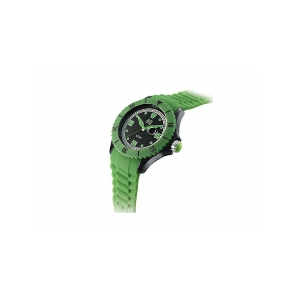 40 NINE WATCHES - 40 NINE SILICONE WATCH, 50 MM, SOLID BLACK  CASE, GREEN TOP RING, BLACK DIAL WITH GREEN INDEXES,GREEN SILICONE STRAP WITH GREEN LOOPS