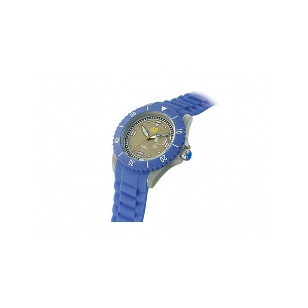 40 NINE WATCHES - 40 NINE SILICONE WATCH, 46 MM, GRAY CASE, PERIWINKLE TOP RING,GREY  DIAL WITH WHITE INDEXES,PERIWINKLE  SILICONE STRAP WITH PERIWINKLE  LOOPS