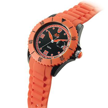 40 NINE WATCHES - 40 NINE SILICONE WATCH- 46 MM- SOLID BLACK CASE-ORANGE TOP RING- BLACK DIAL WITH ORANGE INDEXES- ORANGE HANDS- ORANGE SILICONE STRAP WITH BLACK LOOPS