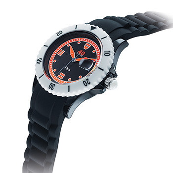 40 NINE WATCHES - 40NINE SILICONE WATCH, 46 MILLIMETER, SOLID BLACK  CASE, BLACK TOP RING, BLACK DIAL WITH ORANGE INDEXES, BLACK  SILICONE STRAP WITH BLACK  LOOPS