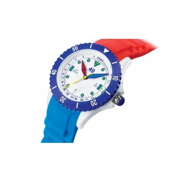 40 NINE WATCHES - 40NINE SILICON WATCH, 45 MILLIMETER, WHITE CASE, NAVY/WHITE TOP RING, BLACK DIAL WITH GREEN INDEXES, BLUE, RED AND YELLOW HANDS, RED AND NAVY SILICON STRAP WITH RED LOOP