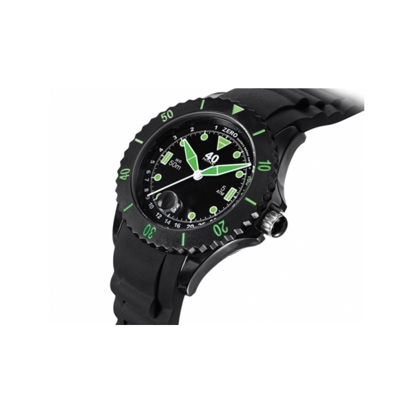 40 NINE WATCHES - 40NINE02 SILICONE WATCH, 45 MILLIMETER, SOLID BLACK CASE, BLACK AND GREEN TOP RING, BLACK DIAL WITH GREEN INDEXES, GREEN HANDS, BLACK SILICONE STRAP WITH BLACK LOOP
