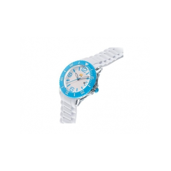 40 NINE WATCHES - 40NINE SILICONE WATCH- 46 MILLIMETER - TRANSPARENT CASE- SKY BLUE TOP RING- WHITE DIAL WITH SKY BLUE INDEXES- WHITE SILICONE STRAP WITH SKY BLUE LOOPS