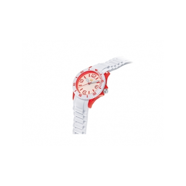 40 NINE WATCHES - 40 NINE SILICONE WATCH, 41.5 MILLIMTER, TRANSPARENT RED  CASE, WHITE TOP RING, WHITE   DIAL WITH RED INDEXES, WHITE SILICONE STRAP WITH RED LOOPS