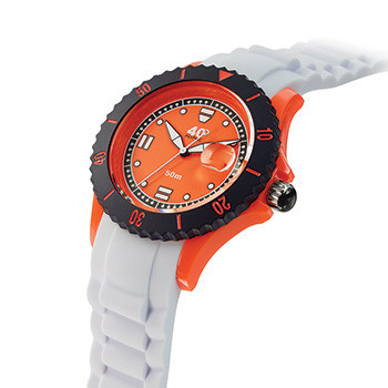 40 NINE WATCHES - 40 NINE SILICONE WATCH, 40 MILLIMETER, SOLID ORANGE  CASE, BLACK TOP RING, ORANGE DIAL WITH WHITE INDEXES, WHITE SILICONE STRAP WITH ORANGE LOOPS