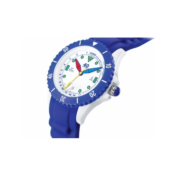 40 NINE WATCHES - 40NINE SILICON WATCH, 45 MILLIMETER, WHITE CASE, NAVY/WHITE TOP RING, WHITE DIAL WITH GREEN INDEXES, BLUE, RED AND YELLOW HANDS, NAVY BLUE SILICON STRAP WITH WHITE LOOP