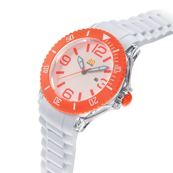 40 NINE WATCHES - 40 NINE SILICONE WATCH, 46 MM, TRANSPARENT  CASE, ORANGE TOP RING, WHITE DIAL WITH ORANGE INDEXES, WHITE SILICONE STRAP WITH ORANGE LOOPS