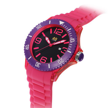 40 NINE WATCHES - 40 NINE SILICONE WATCH, 50 MILLIMETER, TRANSPARENT PINK CASE, PURPLE TOP RING, BLACK  DIAL WITH PINK  INDEXES, PINK SILICONE STRAP WITH PURPLE LOOPS