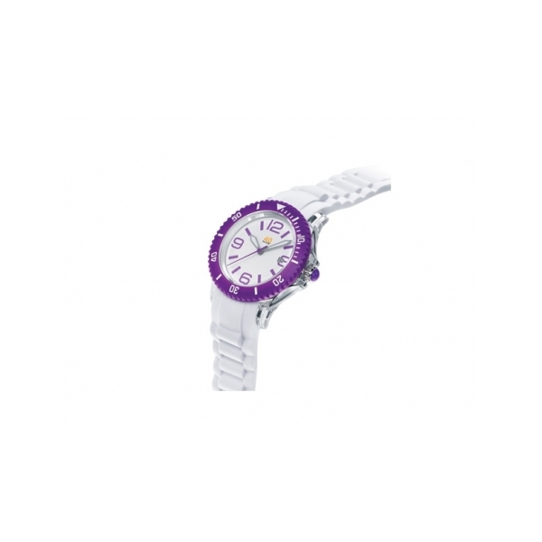 40 NINE WATCHES - 40 NINE SILICONE WATCH, 41 MM, TRANSPARENT  CASE, PURPLE TOP RING, WHITE  DIAL WITH PURPLE INDEXES,WHITE SILICONE STRAP WITH PURPLE LOOPS