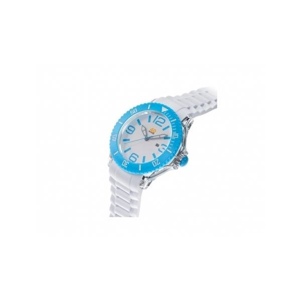 40 NINE WATCHES - 40NINE SILICONE WATCH, 50 MILLIMETER, TRANSPARENT CASE, SKY BLUE RING, WHITE DIAL WITH SKY BLUE INDEXES, WHITE SILICON STRAP WITH SKY BLUE LOOPS