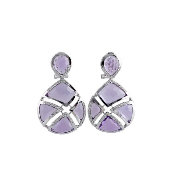 Ladies 14KW Amethyst Allison Kaufman Earrings by Allison Kaufman