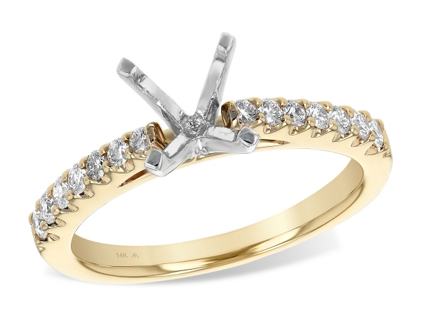 14KT Gold Semi-Mount Engagement Ring - LDS SEMI DIA RG .32 TW - HOLDS 1.00 CTR