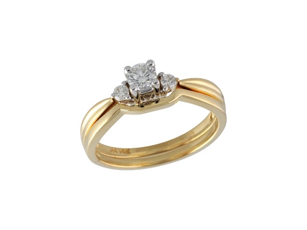 2 Piece Enement Rings   14kt Gold Two Piece Wedding Set H121 47331 14ky Rings From