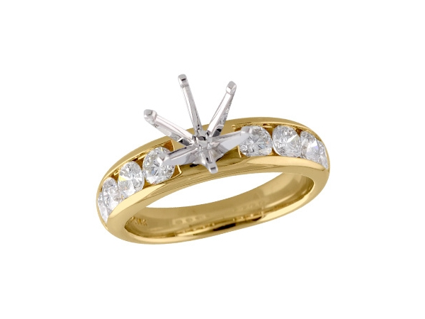 14KT Gold Semi-Mount Engagement Ring - LDS SEMI DIA RG 1.20 TW - HOLDS 2.00 CTR