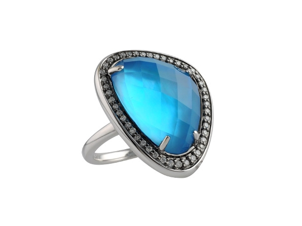 14KT Gold Ladies Diamond Ring - LDS RG 12.24 BLUE TOPAZ 12.44 TGW