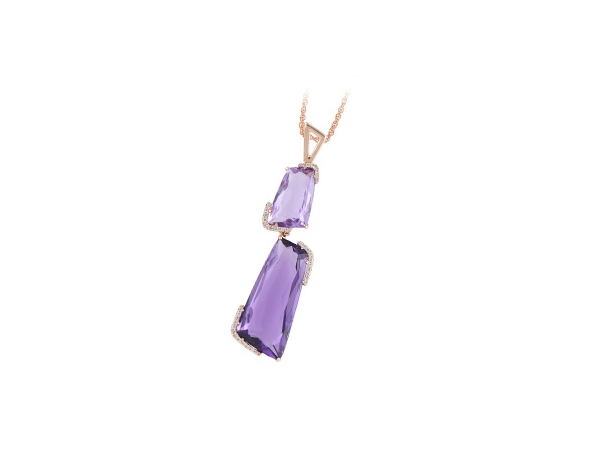 14KT Gold Necklace - 16.07 AMETHYST 16.20 TGW