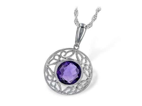 14KT Gold Necklace - NECK 1.05 CT AMETHYST