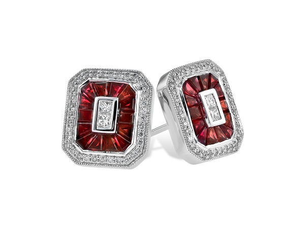 14KT Gold Ruby and Diamond Earrings by Allison Kaufman