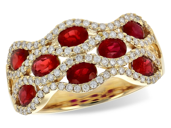 14KT Gold Ladies Wedding Ring - LDS WED RG 1.80 TW RUBY 2.18 TGW