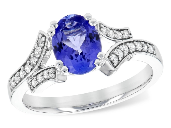 14KT Gold Ladies Diamond Ring - LDS RG 1.15 TANZANITE 1.30 TGW