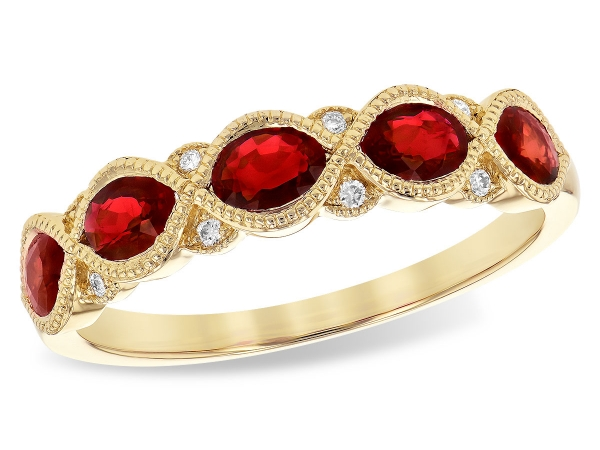 14KT Gold Ladies Wedding Ring - LDS WED RG 1.00 RUBY 1.04 TGW
