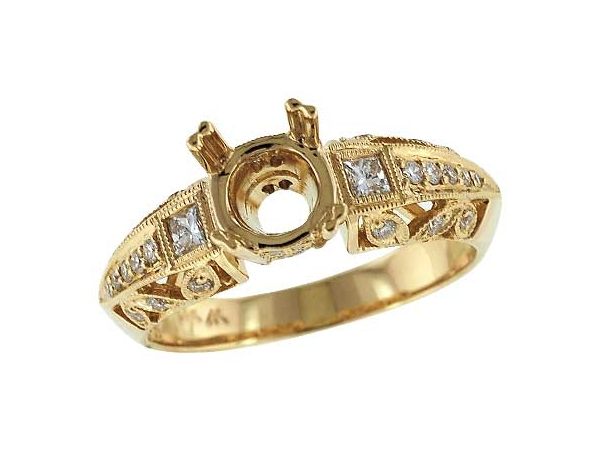 14KT Gold Semi-Mount Engagement Ring - LDS SEMI DIA RG .11 PR .28 TW - HOLDS 1.25 CTR