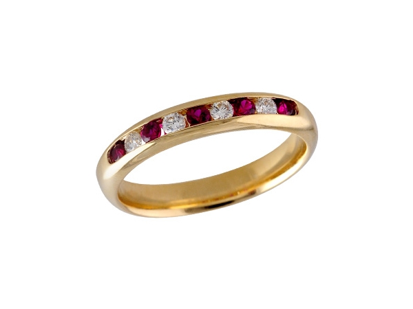 14KT Gold Ladies Wedding Ring - LDS WED RG .22 RUBY .38 TGW