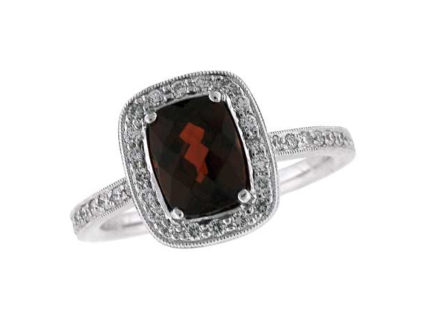 14KT Gold Ladies Diamond Ring - LDS DIA RG 1.85 GARNET 2.11 TGW