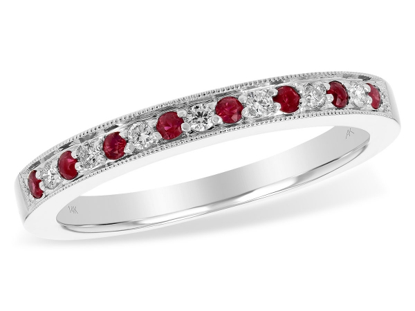 14KT Gold Ladies Wedding Ring - LDS RUBY/DIA WED RG .12 RUBY .21 TGW