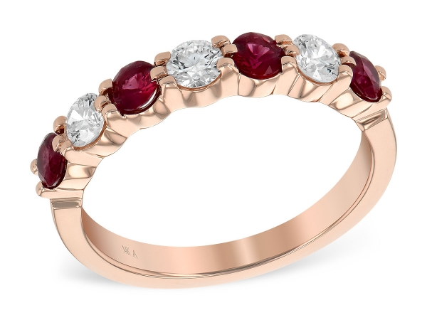 14KT Gold Ladies Wedding Ring - LDS WED RG .64 RUBY 1.03 TGW