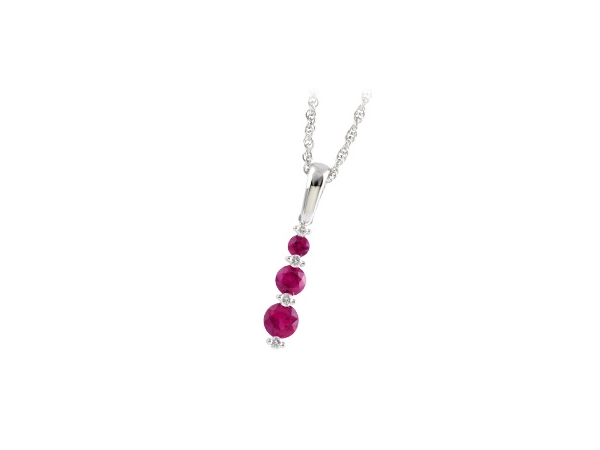 14KT Gold Necklace - NECK .55 RUBY .60 TGW