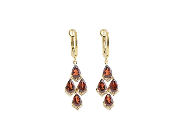 14KT Gold Earrings - EARR 3.63 GARNET 3.79 TGW