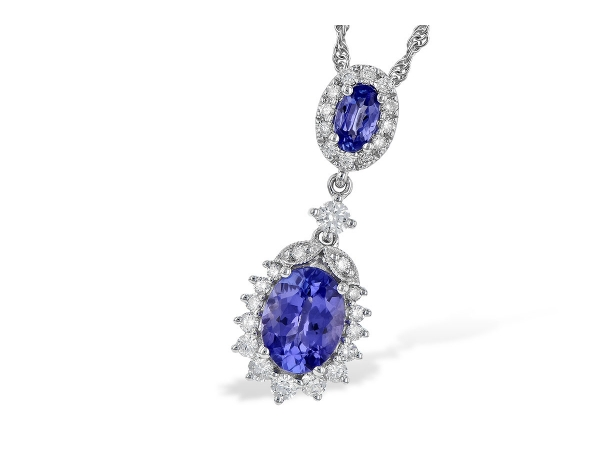 14KT Gold Necklace - NECK 1.26 TW TANZANITE 1.60 TGW