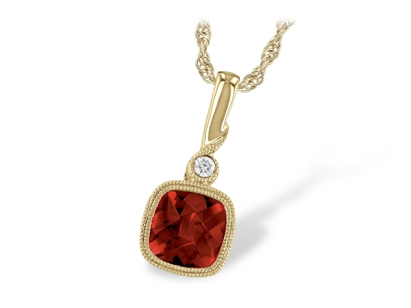 14KT Gold Necklace - NECK 1.18 GARNET 1.20 TGW